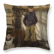 Two Children On Deck Throw Pillow