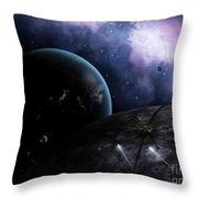 Two Courier Shuttles Pass Near Eione Throw Pillow