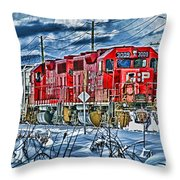 Two Cp Rail Engines Hdr Throw Pillow