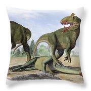 Two Cryolophosaurus Ellioti Dinosaurs Throw Pillow