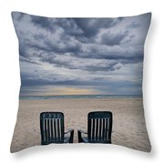 Two Deck Chairs At Sunrise On The Beach Throw Pillow