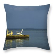 Two Deck Chairs In Conversation Throw Pillow