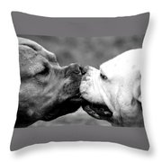 Two Dogs Kissing Throw Pillow