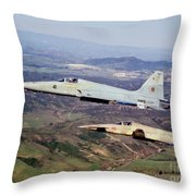 Two F-5e Tiger IIs In Flight Throw Pillow