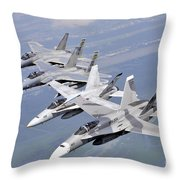 Two Fa-18 Hornets And Two F-15 Strike Throw Pillow