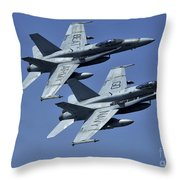 Two Fa-18c Hornets In Flight Throw Pillow