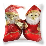 Two Father Christmas Decorations Throw Pillow
