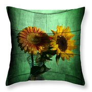 Two Flowers On Texture Throw Pillow