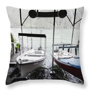 Two Hanging Boats Throw Pillow