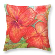 Two Hibiscus Blossoms Throw Pillow