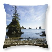 Two Hikers Walk On Beach With Sea Throw Pillow