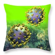 Two Hiv Particles On Bright Green Throw Pillow