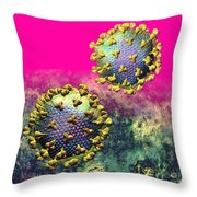 Two Hiv Particles On Hot Pink Throw Pillow