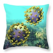Two Hiv Particles On Light Blue Throw Pillow