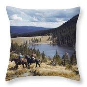 Two Horsemen Ride Above Pecos Baldy Throw Pillow