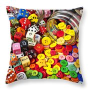 Two Jars Dice And Buttons Throw Pillow