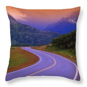 Two Lane Country Road In Mountains Throw Pillow
