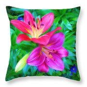 Two Lily Flowers Throw Pillow
