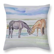 Two Mares Throw Pillow