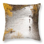 Two Men Flyfishing On The Aspen-lined Throw Pillow