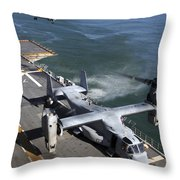 Two Mv-22 Ospreys Land On The Flight Throw Pillow