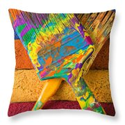 Two Paintbrushes On Paint Rollers Throw Pillow