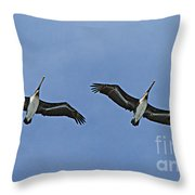 Two Pelicans In Flight Throw Pillow