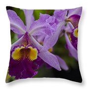 Two Pink Purple Orchids Throw Pillow