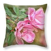 Two Pink Roses II Blank Greeting Card Throw Pillow