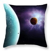 Two Planets Born From The Same Star Throw Pillow