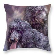 Two Poodles Throw Pillow