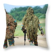 Two Snipers Of The Belgian Army Dressed Throw Pillow