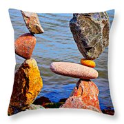 Two Stacks Of Balanced Rocks Throw Pillow