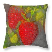 Two Strawberries Throw Pillow