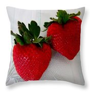 Two Strawberries On A Glass Plate Throw Pillow