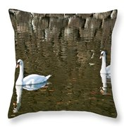 Two Swan Floating On A Pond  Throw Pillow