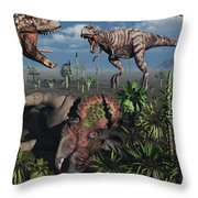 Two T. Rex Dinosaurs Confront Each Throw Pillow by Mark Stevenson