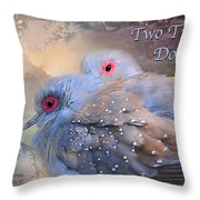 Two Turtle Doves Card Throw Pillow