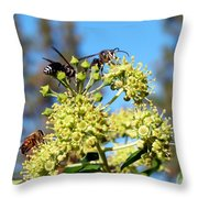 Two Wasps And A Bee Throw Pillow