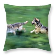 Two Wolves Running Through Meadow Throw Pillow