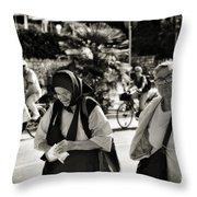 Two Women In Rovinj 2 Throw Pillow