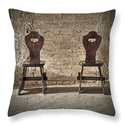 Two Wooden Chairs Throw Pillow
