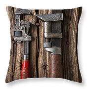 Two Wrenches Throw Pillow by Garry Gay
