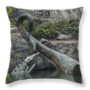 Tylosaurus And Elasmosaurus Throw Pillow