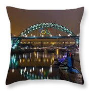 Tyne Bridge At Night Throw Pillow