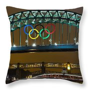 Tyne Bridge At Night II Throw Pillow
