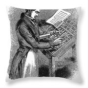 Typesetter, 19th Century Throw Pillow