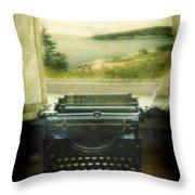 Typewriter By Window Throw Pillow