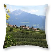 Tyrolean Alps And Vineyard Throw Pillow