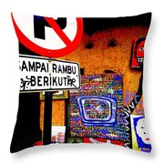 Ubud Art Street  Throw Pillow